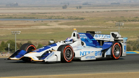 Scott Dixon, of New Zealand, competes during the IndyCar auto race Sunday, Sept. 17, 2017, in Sonoma, Calif. (AP Photo/Eric Risberg)