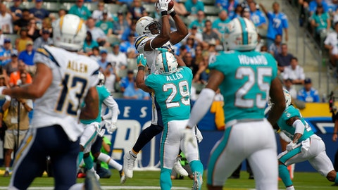 Los Angeles Chargers tight end Antonio Gates makes a touchdown catch during the second half of an NFL football game against the Miami Dolphins, Sunday, Sept. 17, 2017, in Carson, Calif. With the catch, Gates breaks the record previously held by Tony Gonzalez for most touchdown receptions by a tight end in NFL history. (AP Photo/Mark J. Terrill)