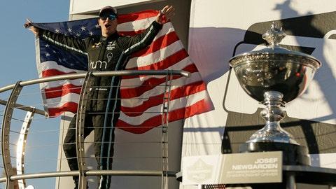 Josef Newgarden celebrates after winning the IndyCar championship Sunday, Sept. 17, 2017, in Sonoma, Calif. (AP Photo/Eric Risberg)