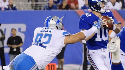 Detroit Lions defensive tackle Haloti Ngata (92) sacks New York Giants quarterback Eli Manning (10) during the first half of an NFL football game, Monday, Sept. 18, 2017, in East Rutherford, N.J. (AP Photo/Bill Kostroun)