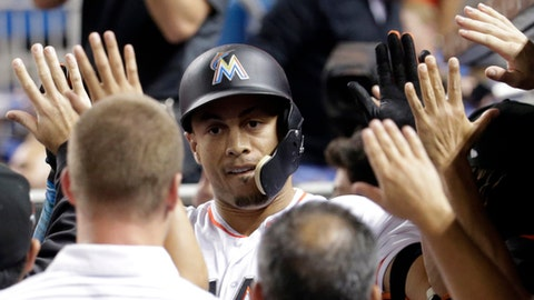 Miami Marlins' Giancarlo Stanton is congratulated in the dugout after hitting a three-run home run during the fourth inning of a baseball game against the New York Mets, Monday, Sept. 18, 2017, in Miami. (AP Photo/Lynne Sladky)