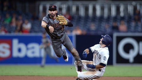 San Diego Padres Matt Szczur is forced out at second base by Arizona Diamondbacks second baseman Daniel Descalso as he throws to first base during the sixth inning of a baseball game Monday, Sept. 18, 2017, in San Diego. (AP Photo/Orlando Ramirez)