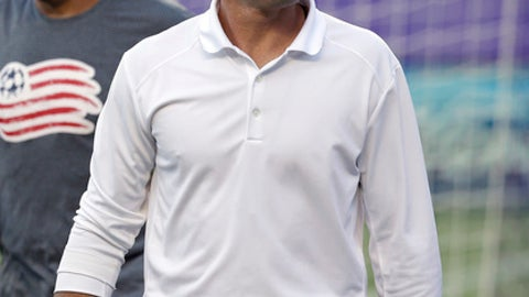 FILE - In this July 31, 2016, file photo, New England Revolution head coach Jay Heaps takes the field before an MLS soccer game against Orlando City in Orlando, Fla. The Revolution announced Tuesday, Sept. 19, 2017, that Heaps had been fired and that assistant coach Tom Soehn will take over as interim head coach for the remainder of the 2017 MLS season. (AP Photo/John Raoux, File)