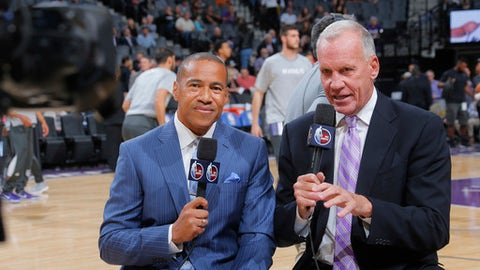 SACRAMENTO, CA - OCTOBER 18: ESPN sportscaster Mark Jones and analyst Doug Collins cover the game between the LA Clippers and Sacramento Kings on October 18, 2016 at Golden 1 Center in Sacramento, California. NOTE TO USER: User expressly acknowledges and agrees that, by downloading and or using this photograph, User is consenting to the terms and conditions of the Getty Images Agreement. Mandatory Copyright Notice: Copyright 2016 NBAE (Photo by Rocky Widner/NBAE via Getty Images)