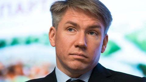 FILE - In this Wednesday, April 29, 2015 file photo, World Cup organizing committee chief executive Alexei Sorokin attends a press conference on World Cup 2018 issues in Moscow, Russia. Russia has regained its place on the FIFA Council, six months after Deputy Prime Minister Vitaly Mutko was blocked from re-election. UEFA member federations on Wednesday, Sept. 20, 2017 elected Alexei Sorokin, CEO of the 2018 World Cup organizing committee, by acclamation as one of their delegates to FIFA's strategy-setting committee. (AP Photo/Alexander Zemlianichenko, file)