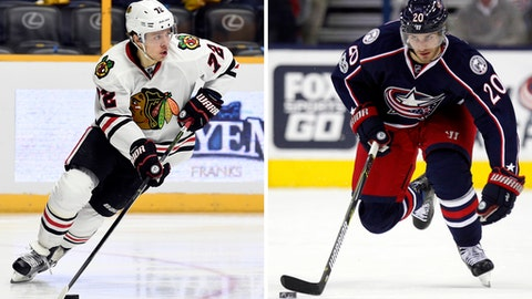 FILE - At left, in an Oct. 14, 2016, file photo, Chicago Blackhawks left wing Artemi Panarin (72), of Russia, plays against the Nashville Predators during the second period of an NHL hockey game, in Nashville, Tenn. At right, in a Jan. 17, 2017, file photo, Columbus Blue Jackets forward Brandon Saad works against the Carolina Hurricanes during an NHL hockey game in Columbus, Ohio. The Blackhawks, coming off the wrong end of a first-round sweep, shook up their roster in the offseason by bringing back Saad and dealing Panarin in a trade with Columbus. (AP Photo/File)