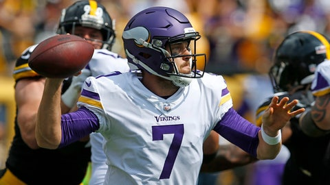 FILE - In this Sunday, Sept. 17, 2017, file photo, Minnesota Vikings quarterback Case Keenum (7) passes during the first half of an NFL football game against the Pittsburgh Steelers in Pittsburgh. Keenum was thrust into action in just his second game suiting up for the Vikings, following Sam Bradford's flare-up of knee soreness and swelling. (AP Photo/Keith Srakocic, File)