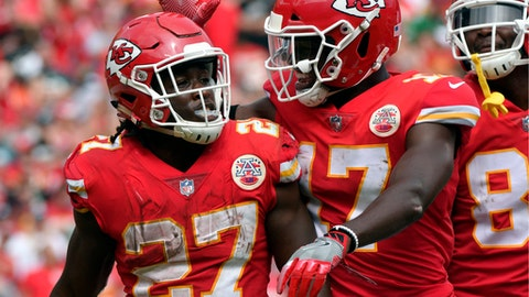 FILE - In this Sunday, Sept. 17, 2017, file photo, Kansas City Chiefs running back Kareem Hunt (27) is congratulated by wide receiver Chris Conley (17) after he scored a touchdown against the Philadelphia Eagles during the second half of an NFL football game in Kansas City, Mo. The Chiefs thought enough of Hunt that they traded up in the third round to get him.   (AP Photo/Ed Zurga, File)