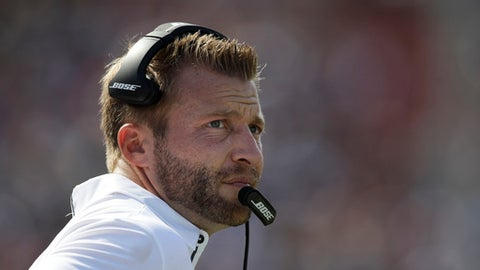 FILE  - In this Sunday, Sept. 10, 2017 file photo, Los Angeles Rams head coach Sean McVay watches action during an NFL football game against the Indianapolis Colts in Los Angeles. Sean McVay and Kyle Shanahan took similar paths on their journey to becoming NFL coaches. Both rose from famous football families to their first NFL jobs as quality control assistants on Jon Gruden's staffs in Tampa Bay. Now McVay and Shanahan are both first-time head coaches ready to face off as opponents on Thursday night, Sept. 21, 2017 when McVay's Los Angeles Rams face Shanahan's San Francisco 49ers (AP Photo/Jae C. Hong, File)