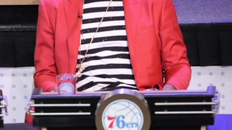 NEW YORK, NEW YORK - MAY 16:  Joel Embiid #21 of the Philadelphia 76ers represents his team during the 2017 NBA Draft Lottery at the New York Hilton in New York, New York. NOTE TO USER: User expressly acknowledges and agrees that, by downloading and or using this Photograph, user is consenting to the terms and conditions of the Getty Images License Agreement.  Mandatory Copyright Notice: Copyright 2017 NBAE (Photo by Michael J. Lebrecht II/NBAE via Getty Images)