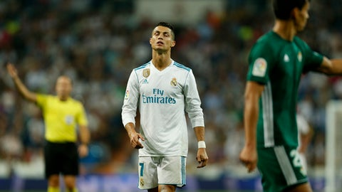 Real Madrid's Cristiano Ronaldo closes his eyes during Spanish the La Liga soccer match between Real Madrid and Real Betis at the Santiago Bernabeu stadium in Madrid, Wednesday, Sept. 20, 2017. Betis won 1-0. (AP Photo/Francisco Seco)