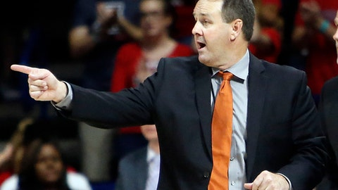 Pacific head coach Ron Verlin during the first half of an NCAA college basketball game against Arizona, Friday, Nov. 13, 2015, in Tucson, Ariz. (AP Photo/Rick Scuteri)