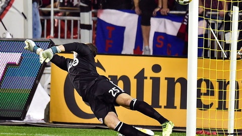 Toronto FC goalkeeper Alex Bono (25) is scored on by Montreal Impact midfielder Marco Donadel during the first half of a MLS soccer game, Wednesday, Sept. 20, 2017 in Toronto. (Frank Gunn /The Canadian Press via AP)