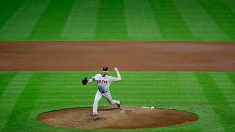 Boston Red Sox starting pitcher Chris Sale throws to the Baltimore Orioles in the fourth inning of a baseball game in Baltimore, Wednesday, Sept. 20, 2017. (AP Photo/Patrick Semansky)