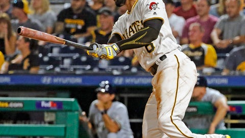 Pittsburgh Pirates' Starling Marte drives in a run with a single off Milwaukee Brewers starting pitcher Aaron Wilkerson in the third inning of a baseball game, Wednesday, Sept. 20, 2017 in Pittsburgh. (AP Photo/Gene J. Puskar)