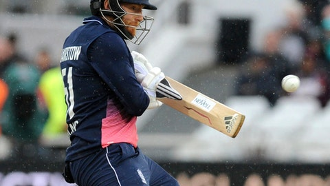 England's Johnny Bairstow plays a shot during the second Royal London One Day International match between England and West Indies at Trent Bridge, Nottingham, England, Thursday, Sept. 21, 2017. (AP Photo/Rui Vieira)