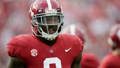 FILE - In this Saturday, Sept. 16, 2017, file photo, Alabama running back Bo Scarbrough walks the field before an NCAA college football game in Tuscaloosa, Ala. Scarbrough hasn't exactly picked up where he left off last season. No. 1 Alabama's bulldozing tailback has dropped 15 pounds, is catching a few more passes and isn't piling up rushing yards as rapidly. (AP Photo/Brynn Anderson, File)