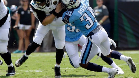 In this Sunday, Sept. 17, 2017 file photo, Jacksonville Jaguars quarterback Blake Bortles (5) runs for a first down as he is tackled by Tennessee Titans free safety Kevin Byard (31) during the first half of an NFL football game in Jacksonville, Fla. NFL spectators in London could have plenty to celebrate Sunday. With Baltimore and Jacksonville playing the first of five games abroad, those at historic Wembley Stadium might be treated to a punting party. And anyone who's been to an NFL game in London knows the loudest cheers are reserved for kicks. The Ravens play the Jaguars on Sunday, Sept.  24, 2017. (AP Photo/John Raoux)