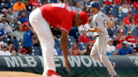 Los Angeles Dodgers' Andre Ethier, right, rounds the bases after hitting a home run off Philadelphia Phillies relief pitcher Ricardo Pinto during the seventh inning of a baseball game, Thursday, Sept. 21, 2017, in Philadelphia. Los Angeles 5-4. (AP Photo/Matt Slocum)