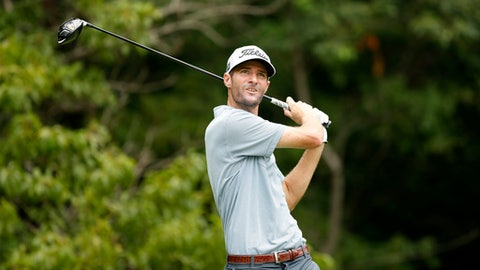 Nicholas Lindheim hits off the second tee during the final round of the John Deere Classic golf tournament, Sunday, July 16, 2017, at TPC Deere Run in Silvis, Ill. (AP Photo/Charlie Neibergall)