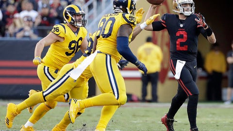 San Francisco 49ers quarterback Brian Hoyer (2) throws a pass against the Los Angeles Rams during the first half of an NFL football game in Santa Clara, Calif., Thursday, Sept. 21, 2017. (AP Photo/Marcio Jose Sanchez)