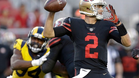 San Francisco 49ers quarterback Brian Hoyer (2) throws a pass against the Los Angeles Rams during the first half of an NFL football game in Santa Clara, Calif., Thursday, Sept. 21, 2017. (AP Photo/Ben Margot)