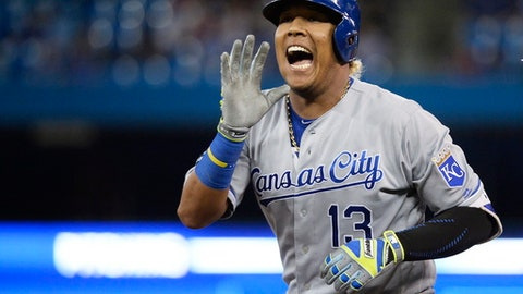 Kansas City Royals' Salvador Perez celebrates a single against the Toronto Blue Jays during the ninth inning of a baseball game Thursday, Sept. 21, 2017, in Toronto. (Nathan Denette/The Canadian Press via AP)