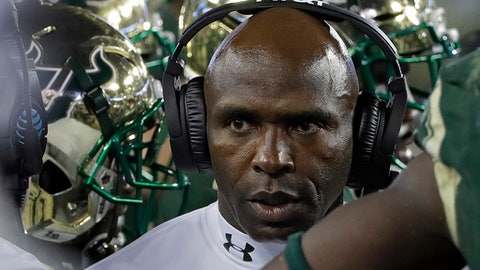 South Florida head coach Charlie Strong looks on during the first half of an NCAA college football game against Temple Thursday, Sept. 21, 2017, in Tampa, Fla. (AP Photo/Chris O'Meara)