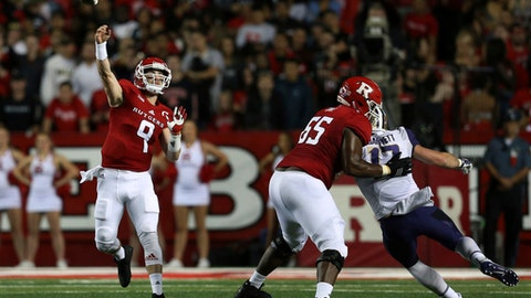 FILE - In this Friday, Sept. 1, 2017 file photo, Rutgers quarterback Kyle Bolin (9) throws a pass during the first half of an NCAA college football game against Washington in Piscataway, N.J. Rutgers plays Nebraska on Saturday, Sept. 23, 2017(AP Photo/Mel Evans)