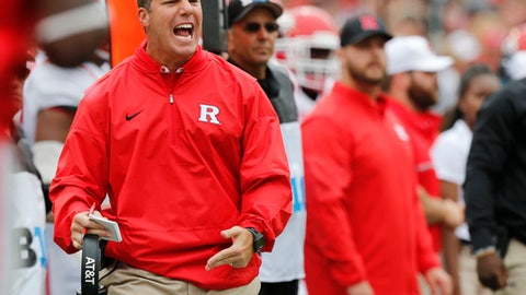 FILE - In this Saturday, Oct. 1, 2016 file photo, Rutgers head coach Chris Ash shouts to his team during the first half of an NCAA college football game against Ohio State in Columbus, Ohio. Rutgers plays Nebraska on Saturday, Sept. 23, 2017. (AP Photo/Jay LaPrete, File)