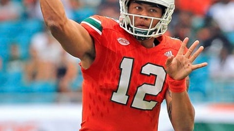 FILE - In this Saturday, Sept. 2, 2017, file photo, Miami quarterback Malik Rosier (12) passes against Bethune-Cookman during an NCAA college football game in Miami Gardens, Fla. Rosier will be making his third career start when Miami faces Toledo, Saturday, Sept. 23, 2017. (Al Diaz/Miami Herald via AP, File)
