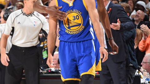 CLEVELAND, OH - JUNE 9:  Kevin Durant #35 and Stephen Curry #30 of the Golden State Warriors during the game against the Cleveland Cavaliers in Game Four of the 2017 NBA Finals on June 9, 2017 at Quicken Loans Arena in Cleveland, Ohio. NOTE TO USER: User expressly acknowledges and agrees that, by downloading and/or using this photograph, user is consenting to the terms and conditions of Getty Images License Agreement. Mandatory Copyright Notice: Copyright 2017 NBAE (Photo by Andrew D. Bernstein/NBAE via Getty Images)