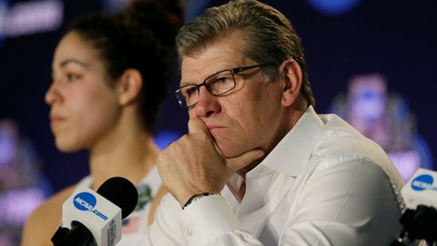 Connecticut head coach Geno Auriemma talks with the media following their loss to Mississippi State in an NCAA college basketball game in the semifinals of the women's Final Four, Friday, March 31, 2017, in Dallas. Mississippi State won 66-64. (AP Photo/LM Otero)
