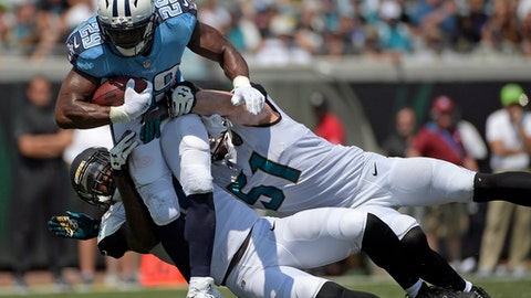 FILE - In this Sunday, Sept. 17, 2017, file photo, Tennessee Titans running back DeMarco Murray (29) is stopped by Jacksonville Jaguars outside linebacker Myles Jack, left, and middle linebacker Paul Posluszny (51) during the first half of an NFL football game in Jacksonville, Fla. Murray, who has missed two straight practices, is expected back on the field Friday before Tennessee hosts Seattle on Sunday. (AP Photo/Phelan M. Ebenhack, File)