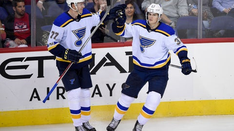 St. Louis Blues left wing Klim Kostin (37), of Russia, celebrates his goal with defenseman Niko Mikkola (77), of Finland, during the third period of an NHL preseason hockey game against the Washington Capitals, Friday, Sept. 22, 2017, in Washington. The Blues won 4-0. (AP Photo/Nick Wass)