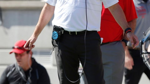 Ohio State head coach Urban Meyer watches from the sideline against UNLV during the first half of an NCAA college football game Saturday, Sept. 23, 2017, in Columbus, Ohio. (AP Photo/Jay LaPrete)