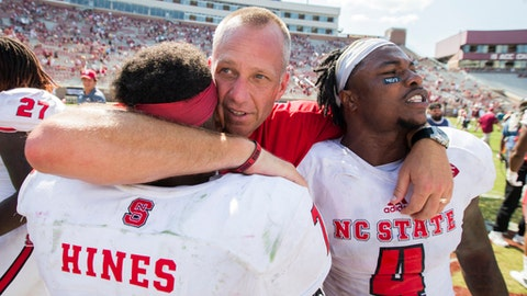 North Carolina State head coach Dave Doeren, center, talks with running back Nyheim Hines and linebacker Jerod Fernandez (4) after defeating Florida State 27-21 in an NCAA college football game in Tallahassee, Fla., Saturday, Sept. 23, 2017. (AP Photo/Mark Wallheiser)