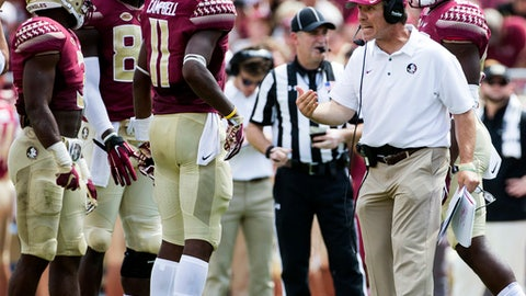 Florida State head coach Jimbo Fisher reacts during a timeout in the second half of an NCAA college football game against North Carolina State in Tallahassee, Fla., Saturday, Sept. 23, 2017. NC State defeated Florida State 27-21. (AP Photo/Mark Wallheiser)