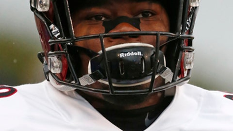San Diego State running back Rashaad Penny attends warmups before an NCAA football game against Air Force, Saturday, Sept. 23, 2017, at Air Force Academy, Colo. (AP Photo/Jack Dempsey)