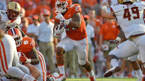 Clemson's C.J. Fuller breaks out of the backfield for a first down during the second half of an NCAA college football game against Boston College Saturday, Sept. 23, 2017, in Clemson, S.C. Clemson won 34-7. (AP Photo/Richard Shiro)