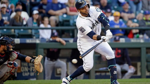 Seattle Mariners' Nelson Cruz, right, checks his swing as he strikes out looking to end a baseball game as Cleveland Indians catcher Yan Gomes looks on Saturday, Sept. 23, 2017, in Seattle. (AP Photo/Elaine Thompson)