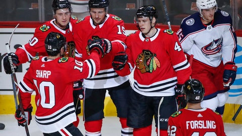 Chicago Blackhawks center Artem Anisimov (15) is congratulated by left wing Patrick Sharp (10) after scoring against the Columbus Blue Jackets during the first period of a preseason NHL hockey game Saturday, Sept. 23, 2017, in Chicago. (AP Photo/Kamil Krzaczynski)
