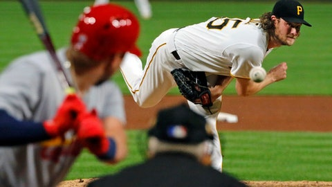 Pittsburgh Pirates starting pitcher Gerrit Cole delivers in the sixth inning of a baseball game against the St. Louis Cardinals, Saturday, Sept. 23, 2017 in Pittsburgh. (AP Photo/Gene J. Puskar)