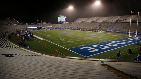 Falcon Stadium is mostly empty for the restart of an inclement weather-delayed NCAA college football game between Air Force and San Diego State, Saturday, Sept. 23, 2017, at Air Force Academy, Colo. (AP Photo/Jack Dempsey)