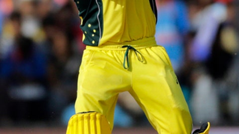 Australia cricket captain Steven Smith reacts after playing a shot during the third one-day international cricket match between India and Australia in Indore, India, Sunday, Sept. 24, 2017. (AP Photo/Rajanish Kakade)