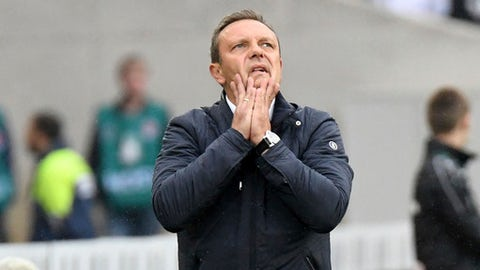 Hanover's head coach Andre Breitenreiter reacts during the German first division Bundesliga soccer match between Hannover 96 and 1. FC Cologne at the HDI-Arena in Hannover, Germany, Sunday, Sept. 24, 2017. (Peter Steffen/dpa via AP)