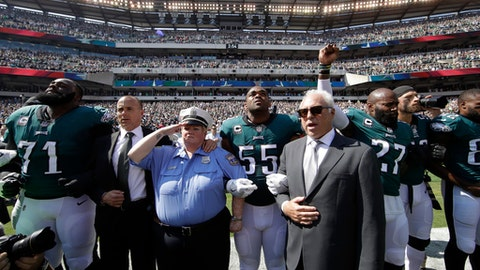 Philadelphia Eagles players and owners Jeffrey Lurie stand for the national anthem before an NFL football game against the New York Giants, Sunday, Sept. 24, 2017, in Philadelphia. Eagles' Malcolm Jenkins raises his fist next to Lurie. (AP Photo/Matt Rourke)