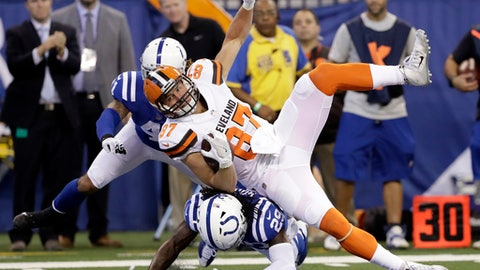 Cleveland Browns tight end Seth DeValve (87) is tackled by Indianapolis Colts free safety Malik Hooker (29) during the first half of an NFL football game in Indianapolis, Sunday, Sept. 24, 2017. (AP Photo/Darron Cummings)