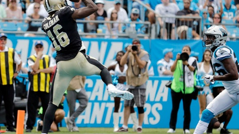 New Orleans Saints' Brandon Coleman (16) catches a touchdown pass as Carolina Panthers' Daryl Worley (26) defends in the first half of an NFL football game in Charlotte, N.C., Sunday, Sept. 24, 2017. (AP Photo/Bob Leverone)