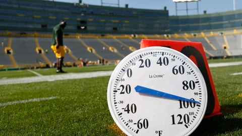 A thermometer on the field shows a temperature near 100 degrees as players start to warm up before an NFL football game between the Green Bay Packers and the Cincinnati Bengals Sunday, Sept. 24, 2017, in Green Bay, Wis. (AP Photo/Matt Ludtke)